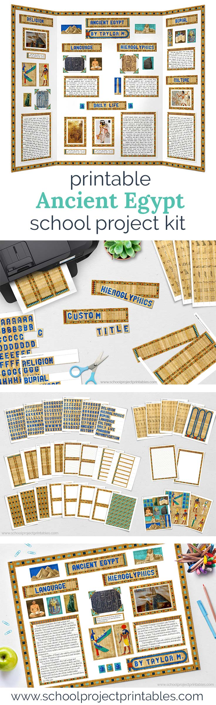 Long Pinterest Pin showing printable kit to make a poster board for an ancient Egypt school project